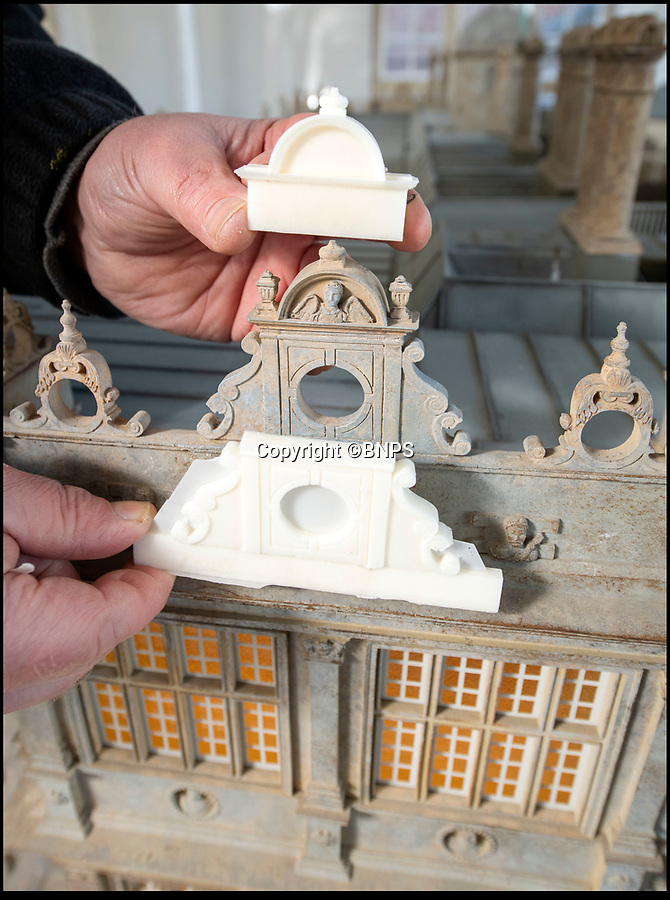 BNPS.co.uk (01202 558833)<br /> Pic: PhilYeomans/BNPS<br /> <br /> Silicon moulds are made to cast the pediments and finials.<br /> <br /> This stunning model of one of Britain's finest stately homes has been painstakingly restored after languishing in a store room for the last seven years.<br /> <br /> The 1/25 scale model of Longleat House in Wiltshire was commissioned by the 6th Marquess of Bath in 1988 and went on display in the 16th Century mansion's butchery.<br /> <br /> But it was broken up into 50 pieces and put into storage when the home underwent renovations several years ago.<br /> <br /> Kim Ward, 60, and his six man team have spent the past two months restoring the model to its former glory.