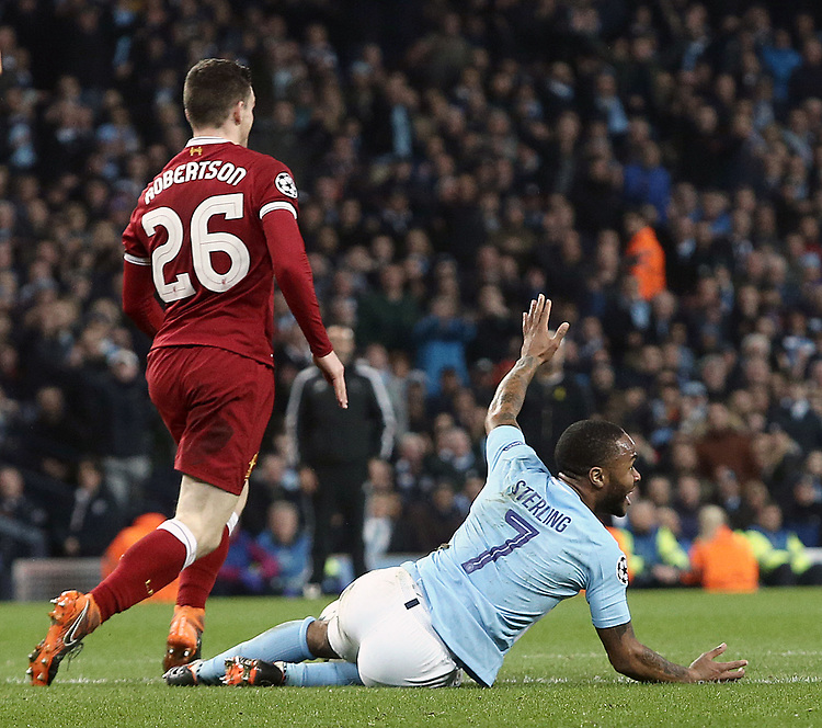 Manchester City's Raheem Sterling protests after a push by Liverpool's Andrew Robertson in the penalty area goes unpunished by Referee Antonio Miguel Mateu Lahoz<br /> <br /> Photographer Rich Linley/CameraSport<br /> <br /> UEFA Champions League Quarter-Final Second Leg - Manchester City v Liverpool - Tuesday 10th April 2018 - The Etihad - Manchester<br />  <br /> World Copyright &copy; 2017 CameraSport. All rights reserved. 43 Linden Ave. Countesthorpe. Leicester. England. LE8 5PG - Tel: +44 (0) 116 277 4147 - admin@camerasport.com - www.camerasport.com