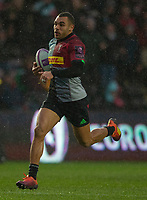 Harlequins' Joe Marchant on his way to scoring his sides second try<br /> <br /> Photographer Bob Bradford/CameraSport<br /> <br /> European Rugby Challenge Cup Pool 5 - Harlequins v Benetton Treviso - Saturday 15th December 2018 - Twickenham Stoop - London<br /> <br /> World Copyright © 2018 CameraSport. All rights reserved. 43 Linden Ave. Countesthorpe. Leicester. England. LE8 5PG - Tel: +44 (0) 116 277 4147 - admin@camerasport.com - www.camerasport.com