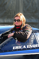 Feb. 26, 2011; Pomona, CA, USA; NHRA pro stock driver Erica Enders during qualifying for the Winternationals at Auto Club Raceway at Pomona. Mandatory Credit: Mark J. Rebilas-