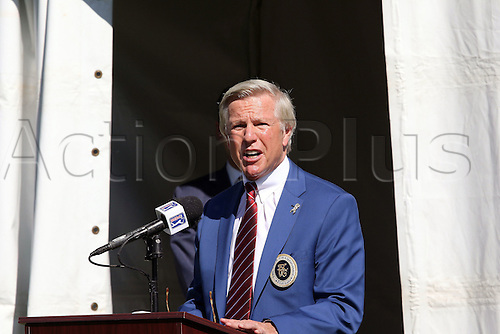 22.09.2016. Atlanta, Georgia, USA. Rob Johnston, the General Chairman of the Tour Chapionship, speaks at the opening ceremonies of the opening round of the 2016 PGA Tour Championship at East Lake Golf Club in Atlanta, Georgia.