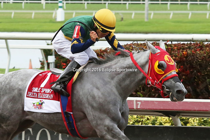 HALLANDALE BEACH, FL -JULY 02:  #1 Delta Bluesman (FL) with jockey Emisael Jaramillo on board wins  Smile Sprint Stakes G2, a Breeders' Cup Win and You're In race at Gulfstream Park on July 02, 2016 in Hallandale Beach, Florida. (Photo by Liz Lamont/Eclipse Sportswire/Getty Images)