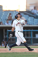 Rio Ruiz #5 of the Lancaster JetHawks bats against the Bakersfield Blaze at The Hanger on May 13, 2014 in Lancaster California. Lancaster defeated Bakersfield, 1-0. (Larry Goren/Four Seam Images)