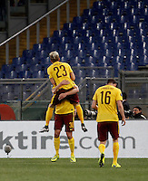 Calcio, Europa League: Lazio vs Sparta Praga. Roma, stadio Olimpico, 17 marzo 2016.<br /> Sparta Praha's Ladislav Krejci, top, celebrates with teammates after scoring during the round of 16 second leg soccer match between Lazio and Sparta Praha, at Rome's Olympic Stadium, 17 March 2016.<br /> UPDATE IMAGES PRESS/Isabella Bonotto