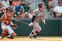 Texas A&M Aggies outfielder Tyler Naquin #18 launches an eighth inning double to center field at the NCAA baseball game against the Texas Longhorns on April 29, 2012 at UFCU Disch-Falk Field in Austin, Texas. The Longhorns beat the Aggies 2-1 in the last ever regular season game scheduled for the long time rivals. (Andrew Woolley / Four Seam Images).