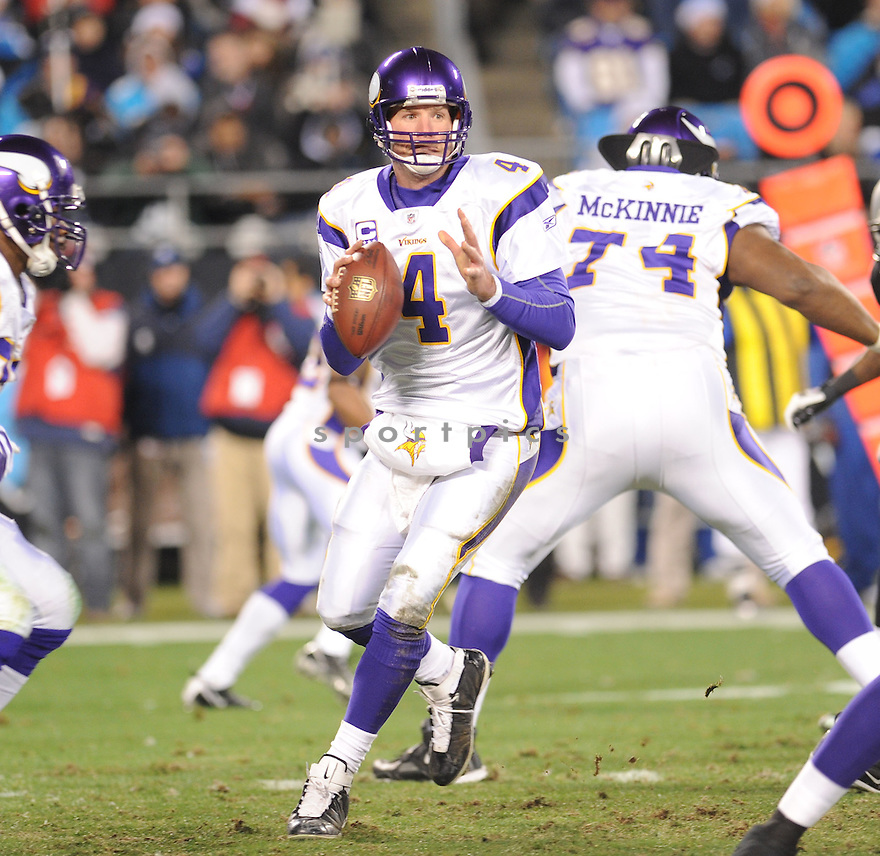 BRETT FAVRE, of the Minnesota Vikings, in action during the Vikings game against the Carolina Panthers on December 20, 2009 in Charlotte, North Carolina. Panthers won 26-7.