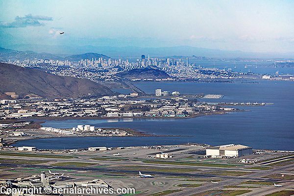 aerial photograph of San Francisco International airport SFO to downtown Francisco