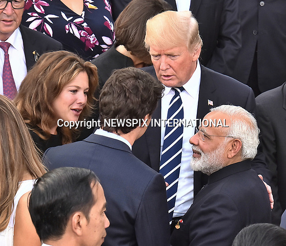 07.07.2017; Hamburg, Germany: DONALD TRUMP, Narendra Modi, JUSTIN AND SOPHIE TRUDEAU <br /> at the G20 Summit in Hamburg Germany.<br /> Mandatory Credit Photo: &copy;NEWSPIX INTERNATIONAL<br /> <br /> IMMEDIATE CONFIRMATION OF USAGE REQUIRED:<br /> Newspix International, 31 Chinnery Hill, Bishop's Stortford, ENGLAND CM23 3PS<br /> Tel:+441279 324672  ; Fax: +441279656877<br /> Mobile:  07775681153<br /> e-mail: info@newspixinternational.co.uk<br /> **All Fees Payable To Newspix International**