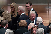 Former Vice President Joe Biden, fourth from left, and his wife Jill Biden, second from left, speak with Ivanka Trump, the daughter of President Donald Trump, third from left, and her husband, President Donald Trump's White House Senior Adviser Jared Kushner, third from right, as former Vice President Al Gore, second from right, speak to former President Jimmy Carter, right, and former first lady Rosalynn Carter, bottom center, before a State Funeral for former President George H.W. Bush at the National Cathedral, Wednesday, Dec. 5, 2018,  in Washington.<br /> Credit: Andrew Harnik / Pool via CNP