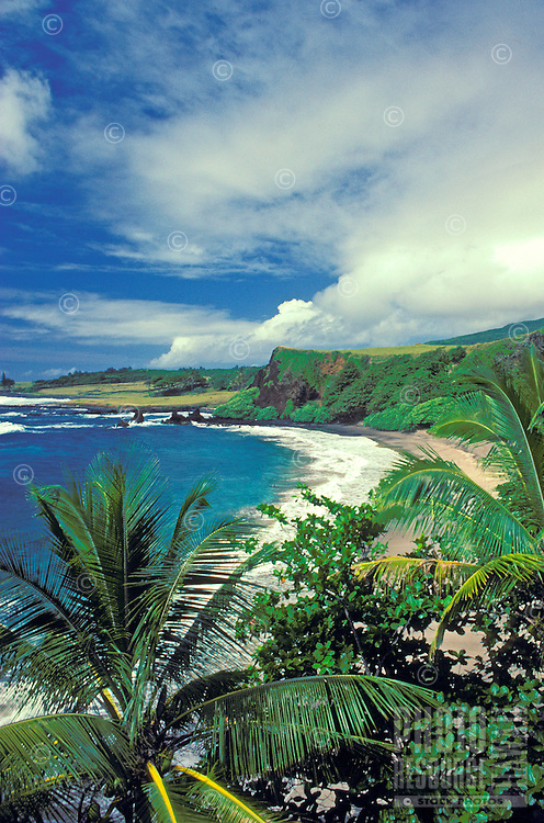 Tropical coastline of Hamoa beach in Hana, Maui