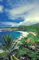 Tropical coastline of Hamoa beach in Hana, Maui