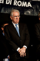 Roma, 16 Ottobre  2012.Commemorazione per le deportazioni degli ebrei dal ghetto di Roma del 16 ottobre 1943..Mario Monti, Presidente del Consiglio...Sixty-nine years later, Rome remembers October 16, 1943, when over a thousand Roman Jews, and among them 350 children, were driven from their homes. An official ceremony and candlelight vigil is organized by the Community of Sant'Egidio  and the Jewish Community in memory of the sacrifice Roman Jews rounded up by the Nazis in Rome.