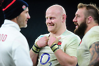 Dan Cole of England is all smiles after the match. RBS Six Nations match between England and France on February 4, 2017 at Twickenham Stadium in London, England. Photo by: Patrick Khachfe / Onside Images