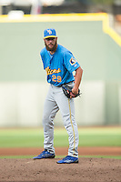 Myrtle Beach Pelicans starting pitcher Trevor Clifton (29) looks to his catcher for the sign against the Winston-Salem Dash at BB&T Ballpark on July 7, 2016 in Winston-Salem, North Carolina.  The Dash defeated the Pelicans 13-9.  (Brian Westerholt/Four Seam Images)