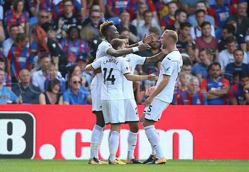 26th August 2017, Selhurst Park, London, England; EPL Premier League football, Crystal Palace versus Swansea City; Tammy Abraham Of Swansea City celebrates goal with his team mates