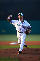 Daytona Tortugas relief pitcher Alex Powers (29) delivers a pitch during a game against the Fort Myers Miracle on April 17, 2016 at Jackie Robinson Ballpark in Daytona, Florida.  Fort Myers defeated Daytona 9-0.  (Mike Janes/Four Seam Images)