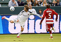LA Galaxy midfielder David Beckham keeps the ball in play with a back heal save. The LA Galaxy defeated FC Dallas 2-1 at Home Depot Center stadium in Carson, California on Sunday October 24, 2010.