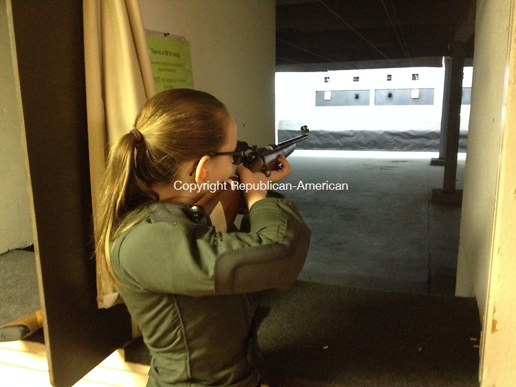 Genevieve Mallon of Southbury practices shooting in Seymour. She is part of the high Rock Shooting Association Junior Shooting Club. 18 May 2015