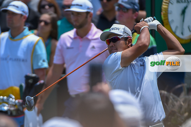 Hideki Matsuyama (JPN) watches his tee shot on 1 during round 1 of The Players Championship, TPC Sawgrass, at Ponte Vedra, Florida, USA. 5/10/2018.<br /> Picture: Golffile | Ken Murray<br /> <br /> <br /> All photo usage must carry mandatory copyright credit (&copy; Golffile | Ken Murray)