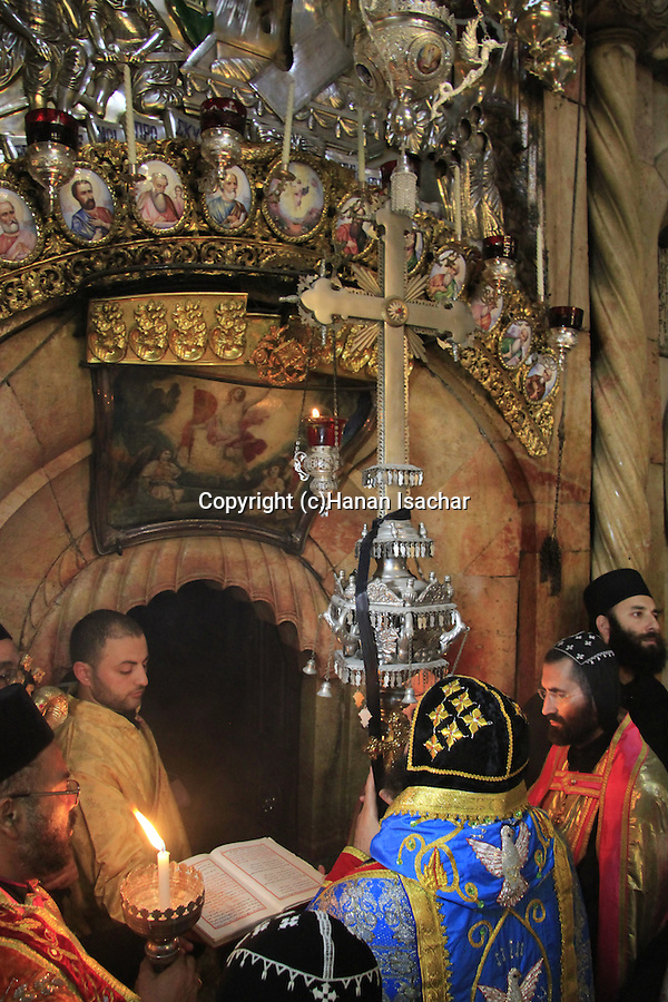 Easter, Syrian Orthodox Archbishop Mar Malki Murad presides over the Holy Saturday ceremony at the Church of the Holy Sepulchre