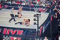WWE Champion Jinder Mahal (bottom) fights against Randy Orton at a WWE Live Summerslam Heatwave Tour event at the MassMutual Center in Springfield, Massachusetts, USA, on Mon., Aug. 14, 2017. Mahal lost the match.