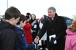 Bishop of Meath, Michael Smith greets students at the Turning of the First Sod on the Site of the new school on the Bryanstown Crossroute...(Photo credit should read Jenny Matthews www.newsfile.ie)....This Picture has been sent you under the conditions enclosed by:.Newsfile Ltd..The Studio,.Millmount Abbey,.Drogheda,.Co Meath..Ireland..Tel: +353(0)41-9871240.Fax: +353(0)41-9871260.GSM: +353(0)86-2500958.email: pictures@newsfile.ie.www.newsfile.ie.