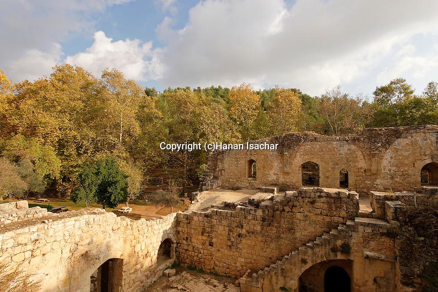 Israel, Jerusalem Mountains. Crusader-period building at Ein Hemed National Park
