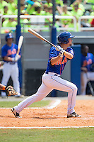 Patrick Mazeika (19) of the Kingsport Mets follows through on his swing against the Greeneville Astros at Hunter Wright Stadium on July 7, 2015 in Kingsport, Tennessee.  The Mets defeated the Astros 6-4. (Brian Westerholt/Four Seam Images)