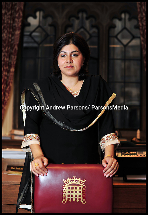 Portrait of Sayeeda Warsi in her office in the House of Lords, Wednesday October 13,  2010. Photo By Andrew Parsons/Parsonsmedia