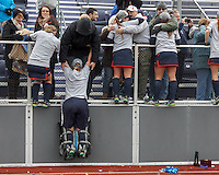 Easton, Massachusetts - November 20, 2016: NCAA Division II Field Hockey Championship final. Shippensburg University (blue) defeated LIU Post (white), 2-1, on Coughlin Memorial Field, in W.B. Mason Stadium at Stonehill College. Celebrating with parents/friends who traveled to Easton, MA.
