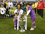 Real Madrid's Marcelo celebrates with the trophy during the Champions League Final match at the Principality Stadium, Cardiff. Picture date: June 3rd, 2017. Pic credit should read: David Klein/Sportimage