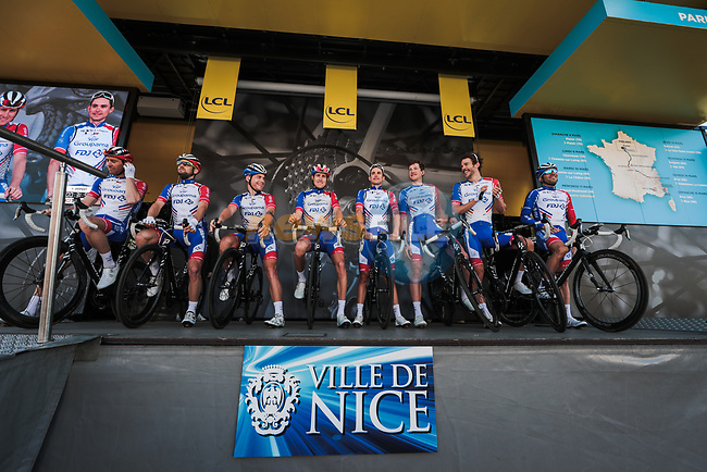 Groupama-FDJ at sign on before Stage 7 of the 78th edition of Paris-Nice 2020, running 166.5km from Nice to Valdeblore La Colmiane, France. 14th March 2020.<br /> Picture: ASO/Fabien Boukla | Cyclefile<br /> All photos usage must carry mandatory copyright credit (© Cyclefile | ASO/Fabien Boukla)