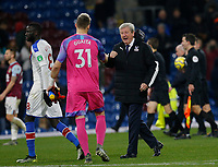 30th November 2019; Turf Moor, Burnley, Lanchashire, England; English Premier League Football, Burnley versus Crystal Palace; Crystal Palace manager Roy Hodgson celebrates with Vicente Guaita at the final whistle after Palace ran out 2-0 winners - Strictly Editorial Use Only. No use with unauthorized audio, video, data, fixture lists, club/league logos or 'live' services. Online in-match use limited to 120 images, no video emulation. No use in betting, games or single club/league/player publications