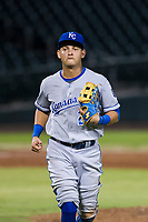 AZL Royals third baseman Mauricio Ramos (22) jogs off the field between innings of the game against the AZL Cubs on July 19, 2017 at Sloan Park in Mesa, Arizona. AZL Cubs defeated the AZL Royals 5-4. (Zachary Lucy/Four Seam Images)