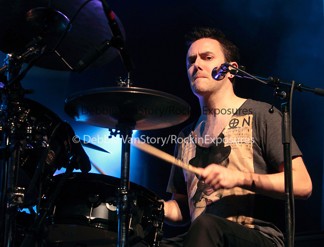 Glen Power, drummer for the Irish rock back 'The Script' performs at the Mann Music Center in Philadelphia, Pennsylvania June 3, 2011..Copyright EML/Rockinexposures.com.