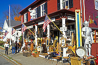antiques, Essex, Massachusetts, MA, People shopping at the White Elephant Shop in the town of Essex in the fall.
