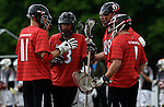 GER - Hannover, Germany, May 30: During the Men Lacrosse Playoffs 2015 match between KKHT Schwarz-Weiss Koeln (white) and SC Frankfurt 1880 (red) on May 30, 2015 at Deutscher Hockey-Club Hannover e.V. in Hannover, Germany. Final score 16:1. (Photo by Dirk Markgraf / www.265-images.com) *** Local caption ***