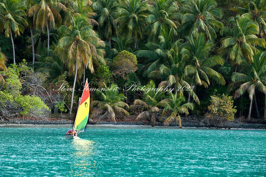 Sailing a sunfish in the afternoon.Maho Bay, St. John.U.S. Virgin Islands