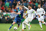 Real Madrid's Sergio Ramos (r) and WfL Wolfsburg's Andre Schurke during Champions League 2015/2016 Quarter-finals 2nd leg match. April 12,2016. (ALTERPHOTOS/Acero)
