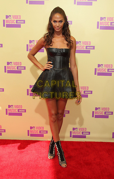 Joan Small.2012 MTV Video Music Awards held at Staples Center, Los Angeles, California, USA 6th September 2012..vmas vma arrivals full length leather strapless dress hand on hip bustier ankle boots .CAP/ADM/RE.©Russ Elliot/AdMedia/Capital Pictures.