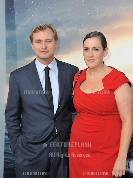 Director Christopher Nolan &amp; wife producer Emma Thomas at the Los Angeles premiere of his movie Interstellar at the TCL Chinese Theatre, Hollywood.<br /> October 26, 2014  Los Angeles, CA<br /> Picture: Paul Smith / Featureflash