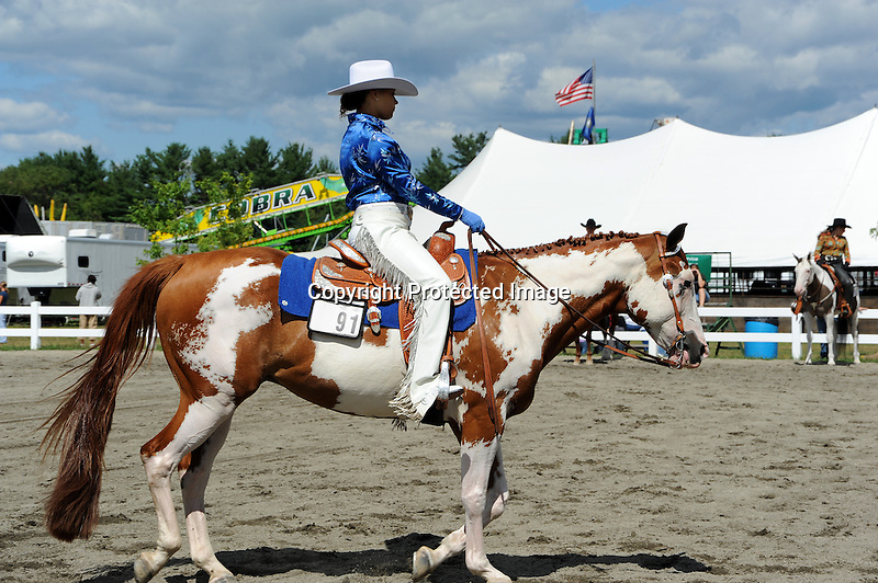 Horse and rider in competition at Cheshire Fair in Swanzey, New Hampshire USA