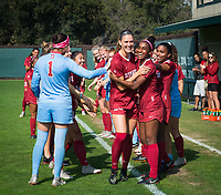 STANFORD, CA - October 21, 2018: Averie Collins, Naomi Girma at Laird Q. Cagan Stadium. No. 1 Stanford Cardinal defeated No. 15 Colorado Buffaloes 7-0 on Senior Day.