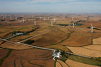 aerial photograph wind turbine farm Iowa