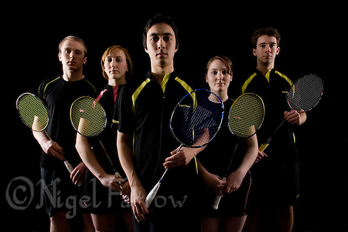 25 NOV 2008 - LOUGHBOROUGH, GBR - , Tom Armstrong, Jenny Day, Will Westwood, Sam Andrews and Phil Manners - Photoshoot-Badminton (PHOTO (C) NIGEL FARROW)