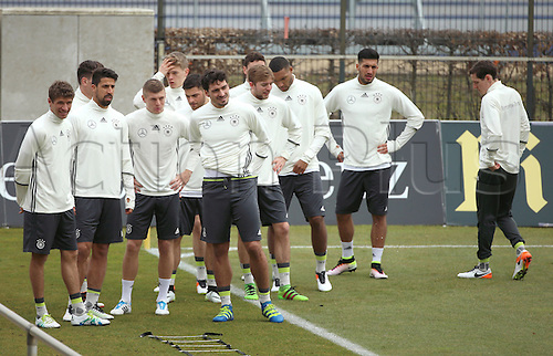 22.03.2016. Berlin Germany.  German players warm up during a training session of the German national soccer team inBerlin, Germany, 23 March 2016. The German national soccer team is preparing for its upcoming international friendly match against England to be held in Berlin on 26 March.