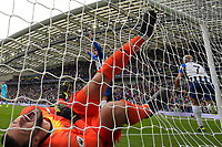 Neal Maupay of Brighton and Hove Albion scores the first goal as Hugo Lloris of Tottenham Hotspurr  during Brighton & Hove Albion vs Tottenham Hotspur, Premier League Football at the American Express Community Stadium on 5th October 2019