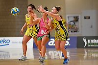 Central Manawa&rsquo;s Paris Lokotui and Southern Blast&rsquo;s Killarney Morey in action during the Beko Netball League - Central Manawa v Southern Blast at ASB Sports Centre, Wellington, New Zealand on Sunday 12 May 2019. <br /> Photo by Masanori Udagawa. <br /> www.photowellington.photoshelter.com