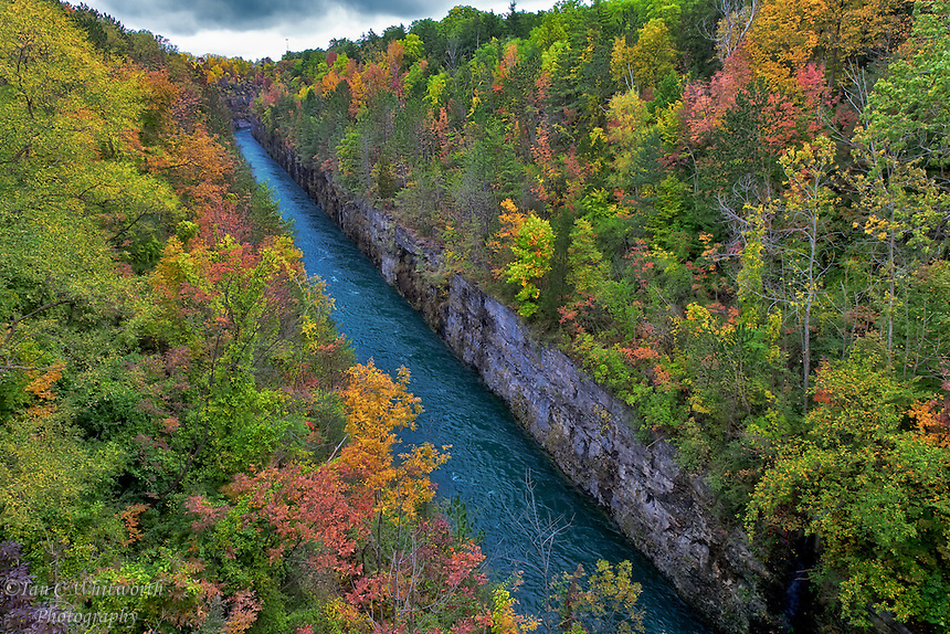The fall colours surround a hydro canal in Niagara.