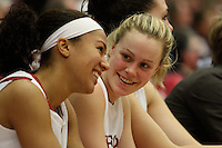 STANFORD, CA - FEBRUARY 1: Rosalyn Gold-Onwude (left) and Lindy La Rocque (right) of the Stanford Cardinal during Stanford's 68-51 win over the UCLA Bruins on February 1, 2009 at Maples Pavilion in Stanford, California.